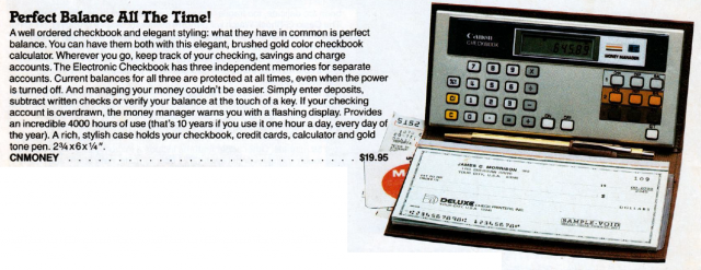 Markline Catalog: checkbook calculator