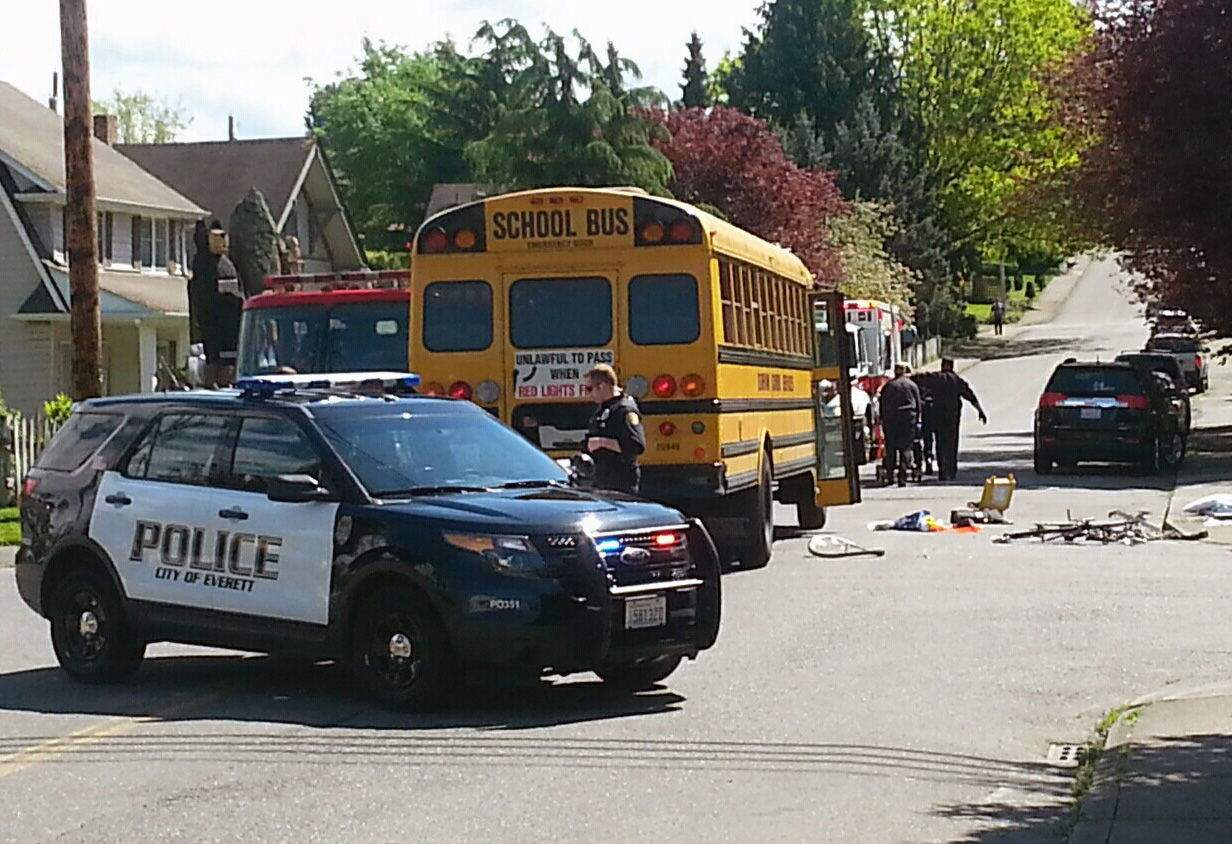 Everett Herald: Bicyclist critical after collision with Everett school bus