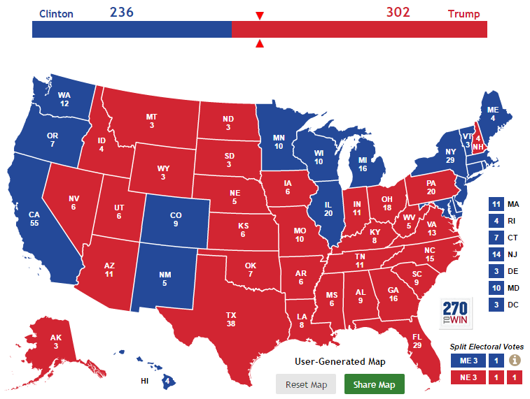 2016 Electoral Map: Tim Ellis Prediction